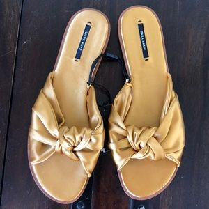 NWT Zara Yellow Gold Slippers